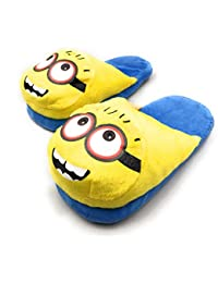 24x7 eMall Cute Plush Minion Shoes Free Size Indoor Slipper Funny Soft Plush for Adults Kids Teens Bedroom with Non-Skid Footpads