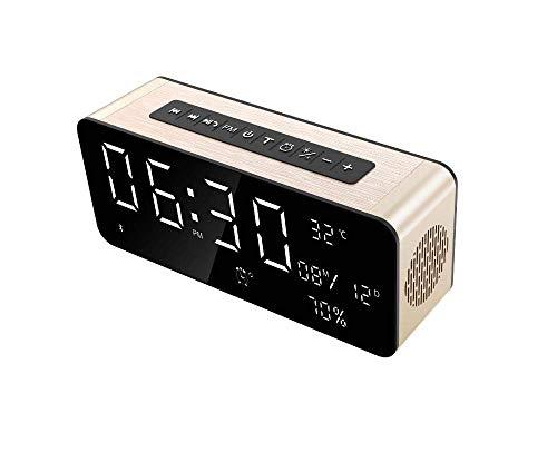 BBZXLL Bluetooth-Lautsprecher-Wecker - Tragbarer Drahtloser Subwoofer Eingebautes HD-Mikrofon 52 Mm Lautsprecher-Uhr Temperaturmessung Schreibtischlampe Unterstützung USB-Wiedergabe,Metallic -