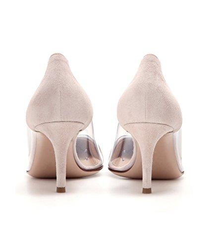 EDEFS - Scarpe col Tacco Donna - Tacco Gattino - Trasparente Scarpe Suede