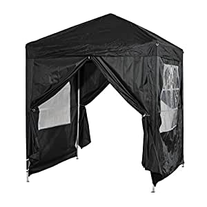 Outsunny 2m x 2m Garden Heavy Duty Pop Up Gazebo Marquee Party Tent Wedding Canopy With Carry Bag Black + Removable 2 windows , 2 doors
