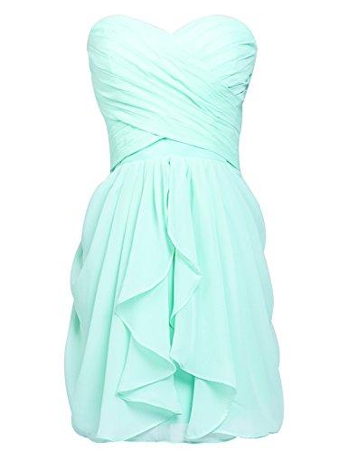 Clearbridal Damen Mini Chiffon Ballkleid Abendkleider Faltenrock Abschlussballkleider CSD247 Minze...