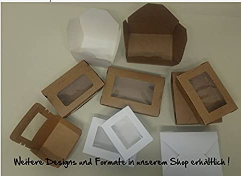 '100Brown/White Biobox with Viewing Window for Pastries, Cake, Sweets, Biscuits, Cupcake, Salad Kit