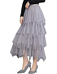 f8fffa82b1 VJGOAL Moda Casual de Mujer Color sólido Imperio Tulle Cake Falda Falda  Plisada tutú a Media