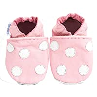 Soft Leather Baby Shoes Pink with White Spots