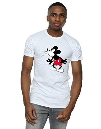 Disney Herren Mickey Mouse Tongue T-Shirt Large Weiß -