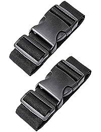 【2 Piezas】 Correas para Equipaje, SlickMart Longitud Ajustable Cinturones de la Maleta Ajustables de Equipaje de Viaje Cinturones para Equipaje(180cm x 5cm Negro)