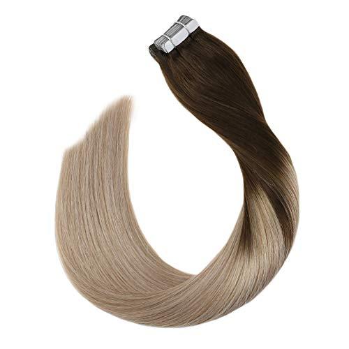 Ugeat tape in balayage hair extension capelli brasiliiani biadesive #4/18 marrone scuro con biondo cenere 18 pollici 100% remy umano extenions