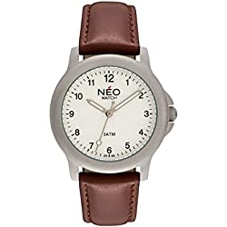 NEO watch PURE SILVER - Classic Quartz Watch - Mens / Ladies Analogue Wristwatch - 35mm diameter - White dial - Leather strap - N5-005