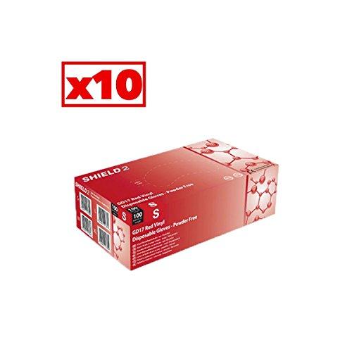 Guanti in vinile rosso Shield2–Cartone Di 10scatole di 100–AQL–gd17r _ 10