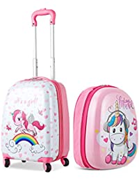 CASART 2 PCS Kids Luggage Set ABS Children Backpack Suitcase Trolley Bag Travel School 12'' 16''