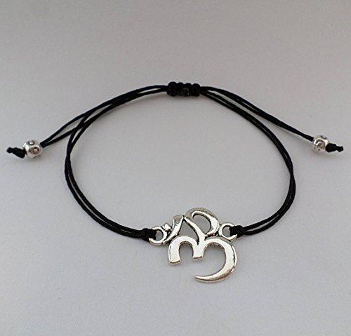 Meditation Armband - OM Symbol / antik silber / verschiedene Farben / Macramee Macramé Arm Band / Buddhismus Schmuck