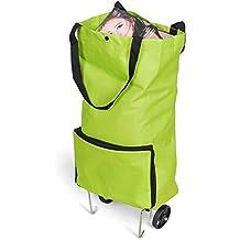 Portátil bolsa con ruedas de vehículos, color verde (Pack de 1)