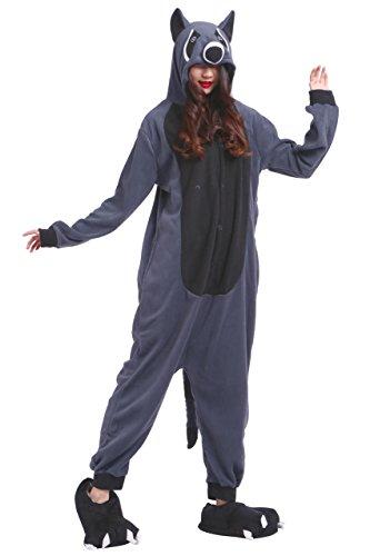 chsene Onesies Kigurumi Grau Waschbär Tier Pajama Größe L (Erwachsene Waschbär Kostüm)