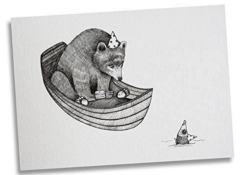Ligarti Postkarte Bärengeburtstag - Premium Bambus Papier 350g - 100% Handmade in Deutschland - Bär Fisch Geburtstag, Grußkarte, Deko, Geschenkkarte, Einladung