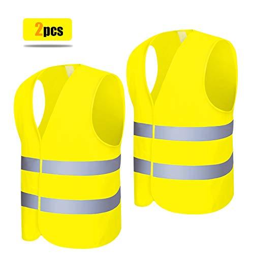 Warnweste 2 Stück Neon Gelb Hochsichtbare Sicherheitsweste 360 Grad Reflektierende Warnweste Auto 69 x 45cm