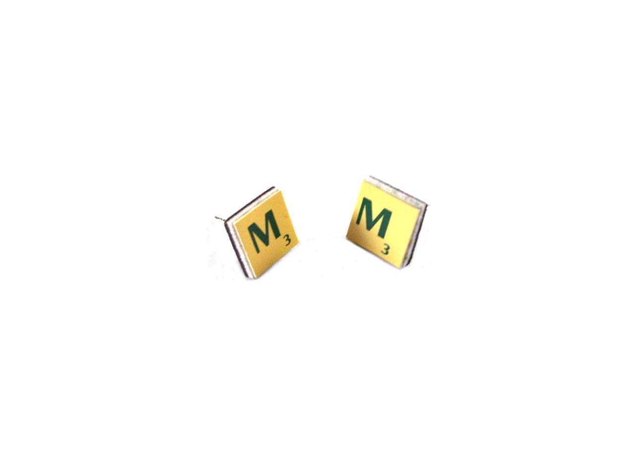 Miniature Travel Scrabble® Stud Earrings made with Recycled Vintage Letter Tiles Silver Plated/Sterling Silver, Gift Boxed