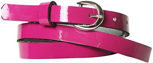 Fronhofer schmaler Lackgürtel 2 cm, Damengürtel Lack schwarz, rot, pink, Lackgürtel Damen schmal, 17634, Größe:Bundweite 90 cm = Gesamtlänge 105 cm, Farbe:Pink