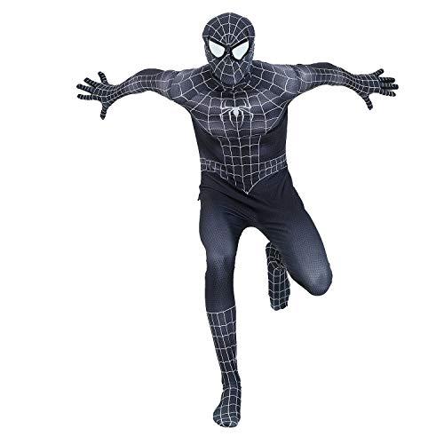 Für Spiderman Kostüm Schwarzes Herren - Black Spiderman Venom Anzug Cosplay Kostüm Herren Halloween Party Zentai Body - Schwarz - Large