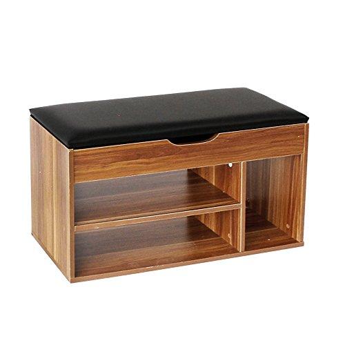 Soges armadio per la conservazione ottomano di legno banco sedia rimovibile di cuscino, 8 coppie supporto di sedie organizzatore corridoio basamento portascarpe, nero