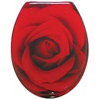 Sanwood 6189400 Scarlet Abattant de WC en polyrésine Motif de rose