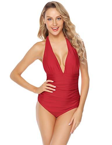 Abollria Damen Badeanzug Elegant Einteiler Neckholder Bademode Vintage Swimwear Rückenfrei, Rot, M - Rot Neckholder Badeanzug
