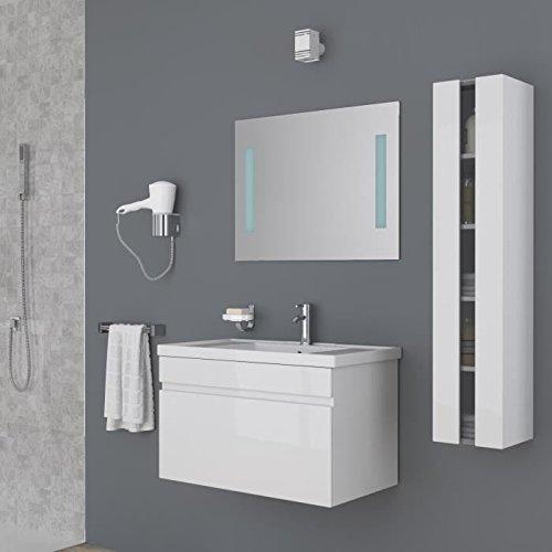 Générique ALBAN Salle de Bain Complete Simple Vasque 80 cm - Laqué Blanc Brillant
