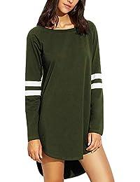 VONDA Camiseta de Mujer Blusas de Manga Larga Béisbol Casual Cuello Redondo Camisas Blusa raglán B-ejército Verde XX-Large