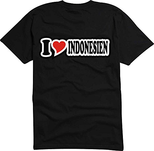 T-Shirt I Love Heart Herren I LOVE INDONESIEN Schwarz