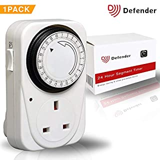 Defender 24 Hour Segment Timer Switch - Energy Saver Plug Standard Size - Hour Plug-in Timer Socket Set - 240v 3 Pin Plug With Programmable Time Controller