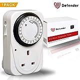 Defender 24 Hour Segment Timer Switch - Energy Saver Plug Standard Size