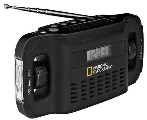 National Geographic Solar Radio mit Taschenlampenfunktion, integriertem Dynamo / Solarpanel zur Stromerzeugung und USB-Schnittstelle zur Aufladung von mobilen Geräten, schwarz