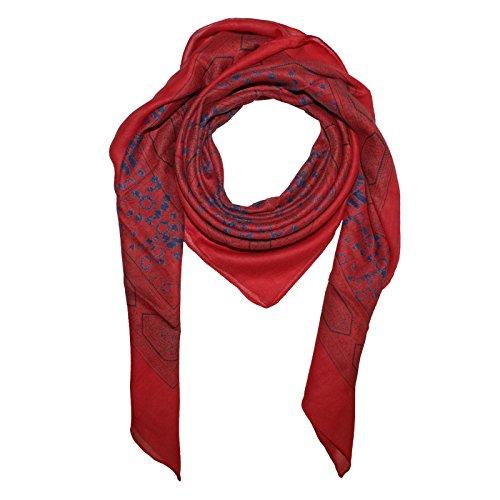 Superfreak® Baumwolltuch Indisches Muster 1°Tuch°Schal°100x100 cm°100% Baumwolle, Farbe: rot