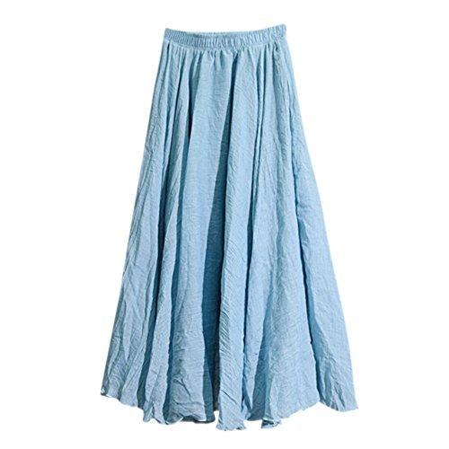 Nlife Frauen Baumwolle Leinen Double Layer Elastische Taille langen Langer RockMaxi Rock Sky Blue