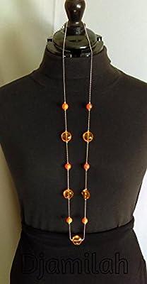 Sautoir en métal inoxydable , perles oranges