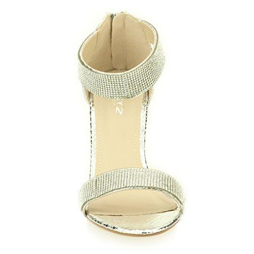 Femmes Dames Soir Mariage Party Mariée Haute Talon Open Toe Diamante Sandale Chaussures Taille (Or, Champagne, Noir, Argent) Argent