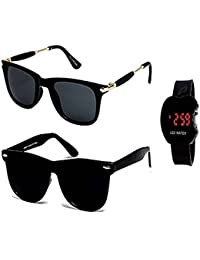 Y&S Unisex Combo Of Sunglasses with Watch(Blue)