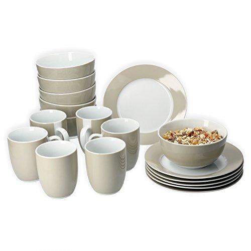Van Well Frühstücksset 18-tlg. für 6 Personen Serie Vario Porzellan - Farbe wählbar, Farbe:beige
