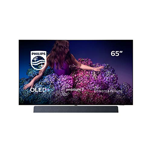 Philips Ambilight 65OLED934/12 164 cm (65 Zoll) OLED+ Smart TV (4K UHD, P5 Pro Perfect Picture Engine, HDR 10+, Dolby Vision, Dolby Atmos, Sound von Bowers & Wilkins, Android TV) Chromfarben