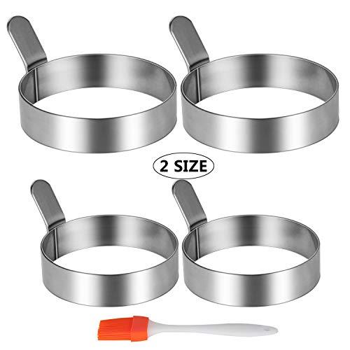 Ei ring Omelettform aus Edelstahl mit Silikonbürste (2 Größen, 4 Packungen) Ei-ring