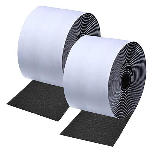 ANDERK 11CM Breite 2 Meter Lang Klettband Selbstklebend Extra Stark Klettverschluss Selbstklebend, Schwarz