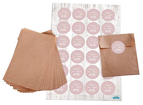 Geschenktüten-Set: 24 braune kleine Papier-Flachbeutel Papiertüten 10,5 x 15 + 2 cm Lasche und 24 Stück Aufkleber Sticker 4 cm rose SCHÖN DASS DU DA BIST pink weiß für Kommunion Mädchen