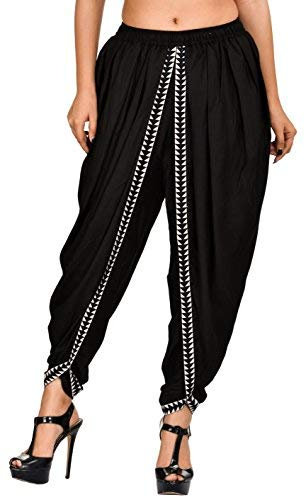 Khazana Basics Women's Rayon Dhoti Pants (JTDH32, Black, XL)
