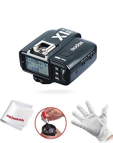 Godox X1T-S 2.4G Kabellos Blitzgeräte Auslöser Sender für Sony DSLR Kameras mit MI Shoe A77II A7RII A7R A58 A99 ILCE6000L - mit Pergear Reinigung Set