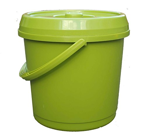 14L Litre GREEN Plastic Bucket With Lid Carry Handle Ideal for Tub / Bucket / Animal Feed / Bird Seed by S&MC Homeware Test