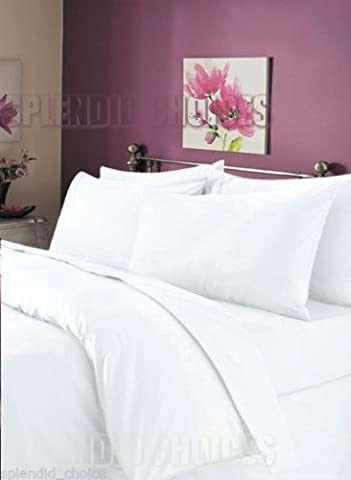 Luxury 100% Egyptian Cotton Duvet Quilt Cover & Pillowcase Bedding Set All Sizes (White, Single)