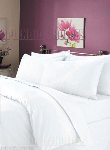 Luxury 100% Egyptian Cotton Duvet Quilt Cover & Pillowcase Bedding Set All Sizes (White, King)