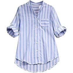SHOBDW Moda Mujeres a Rayas con Cuello en V Otoño Invierno Camisa de Manga Larga Lino Blusa Suelta Casual Botón Tops Camisa Formal para Mujer (Azul,M)