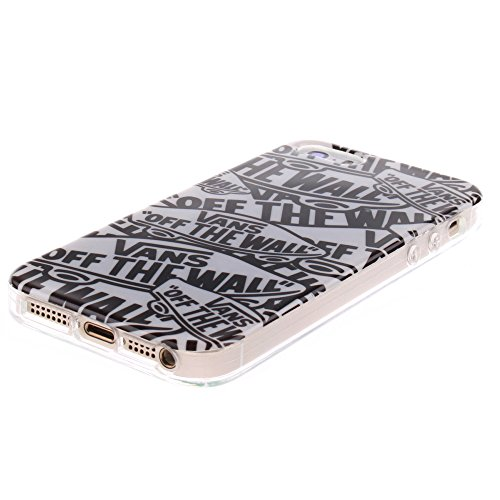 Pour Apple iPhone 5/5S Cas, MCHSHOP Ultra-mince TPU Silicone Cover souple Phone Housse Coque de protection pour iPhone 5/5S - 1 gratuit Touch Pen (Abricotier de fleur) Lettres de Cartoon