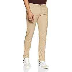 Arrow Sports Men's Straight Fit Casual Trousers (ASVTR2450_Khaki_36W x 34L)
