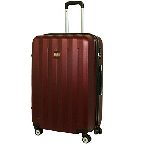 QTC DENVER 2 Hartschalen Reisekoffer M / 55cm / Handgepäck Reisetasche Reise Koffer Cabine (Braun-Rot)
